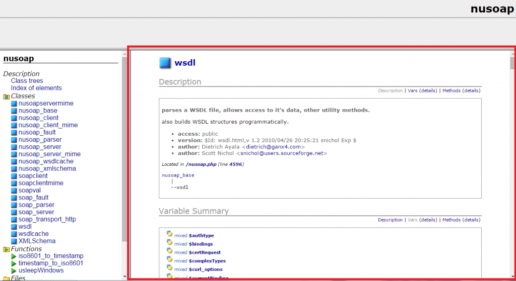 Documentación de la clase WSDL de nuSOAP