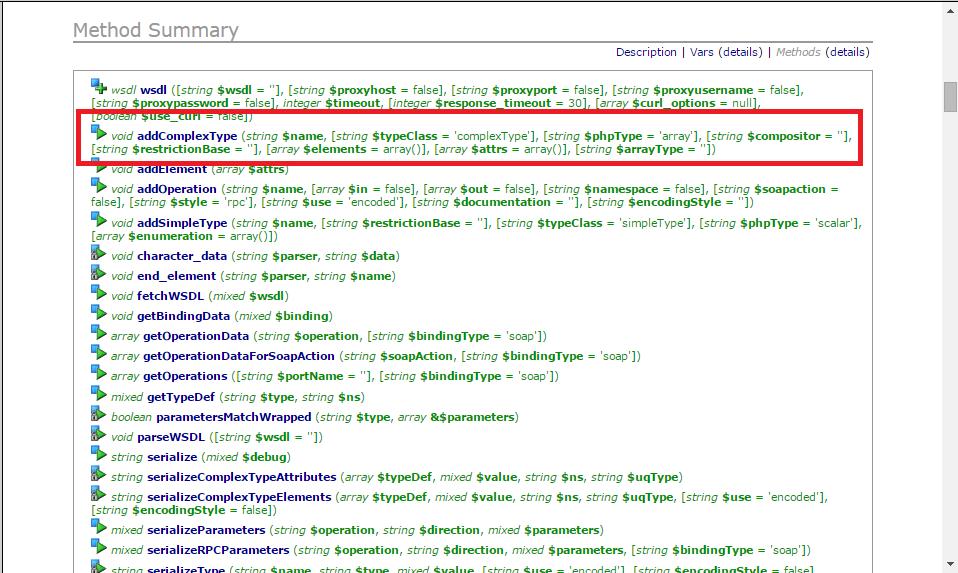 Función addComplexType() de nuSOAP