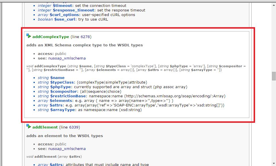 Documentación de la función addComplexType() de nuSOAP